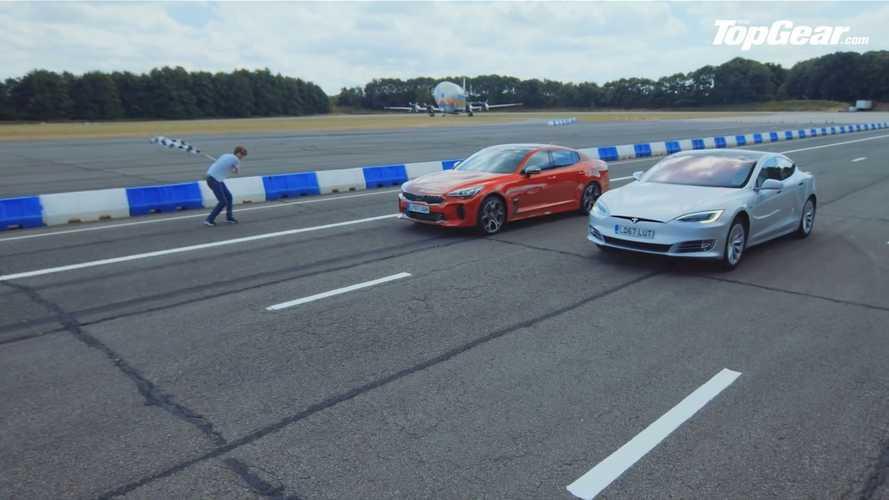 Kia Stinger GT S , Tesla Model S ile drag yarışında