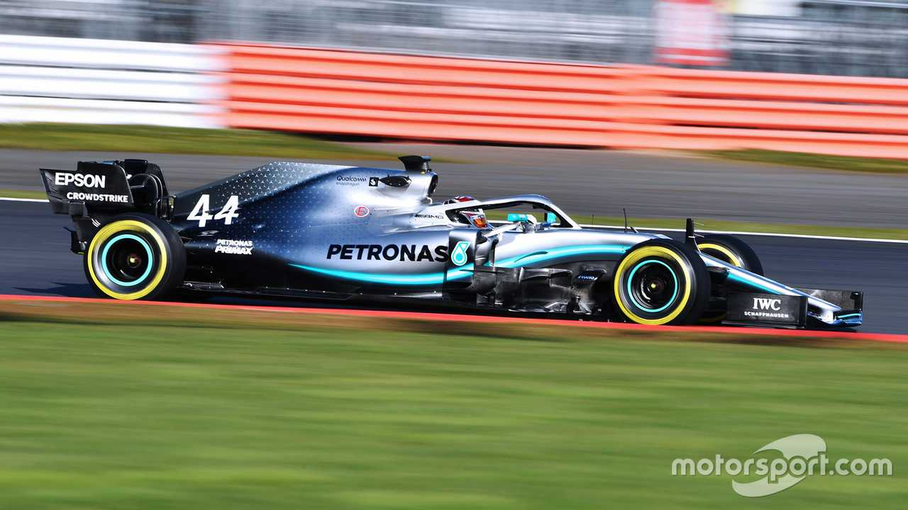Lewis Hamilton in Mercedes-AMG F1 W10 during Silverstone shakedown