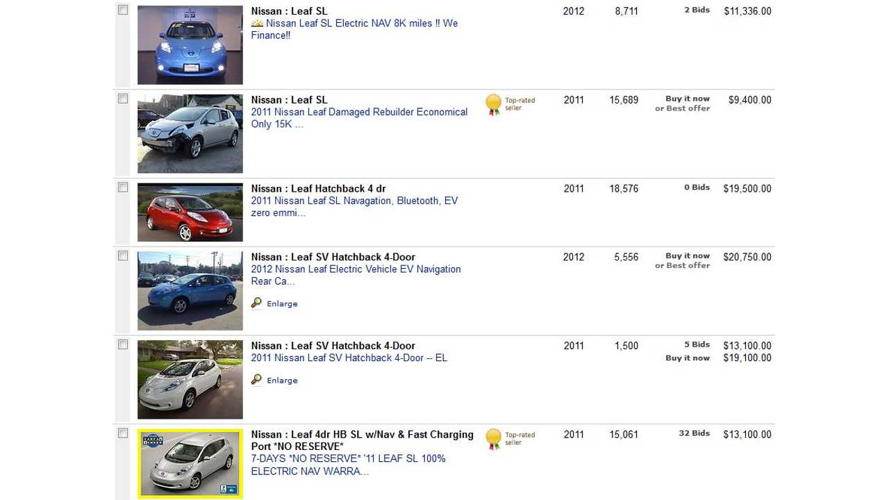 Used 2011-2012 Low-Mileage Nissan LEAFs Go For Cheap on eBay