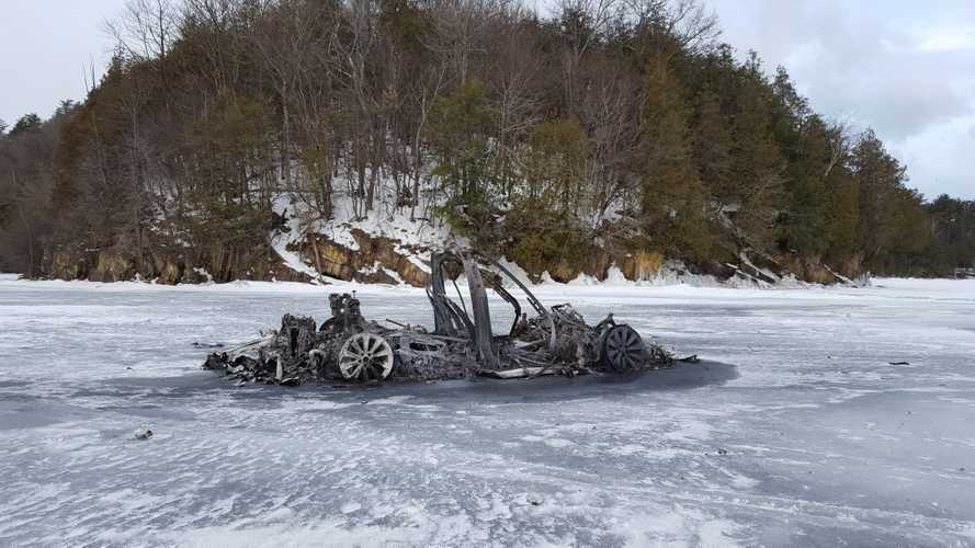 Find out why this burnt Tesla was abandoned on a frozen lake
