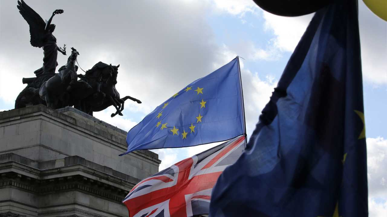 EU and Union Jack flags fly near Hyde Park as anti-Brexit demonstration gets underway