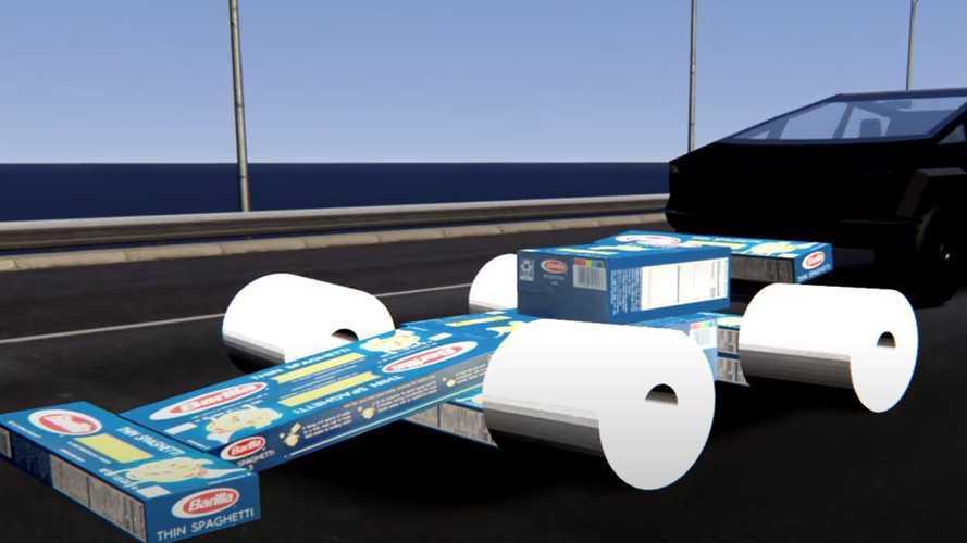 Watch Tesla Cybertruck Race Toilet Paper Tire Formula 1 Race Car