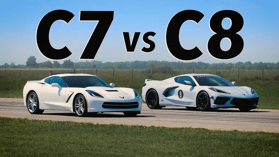 See Hennessey's Chevy Corvette C8 Drag Race Bone Stock C7