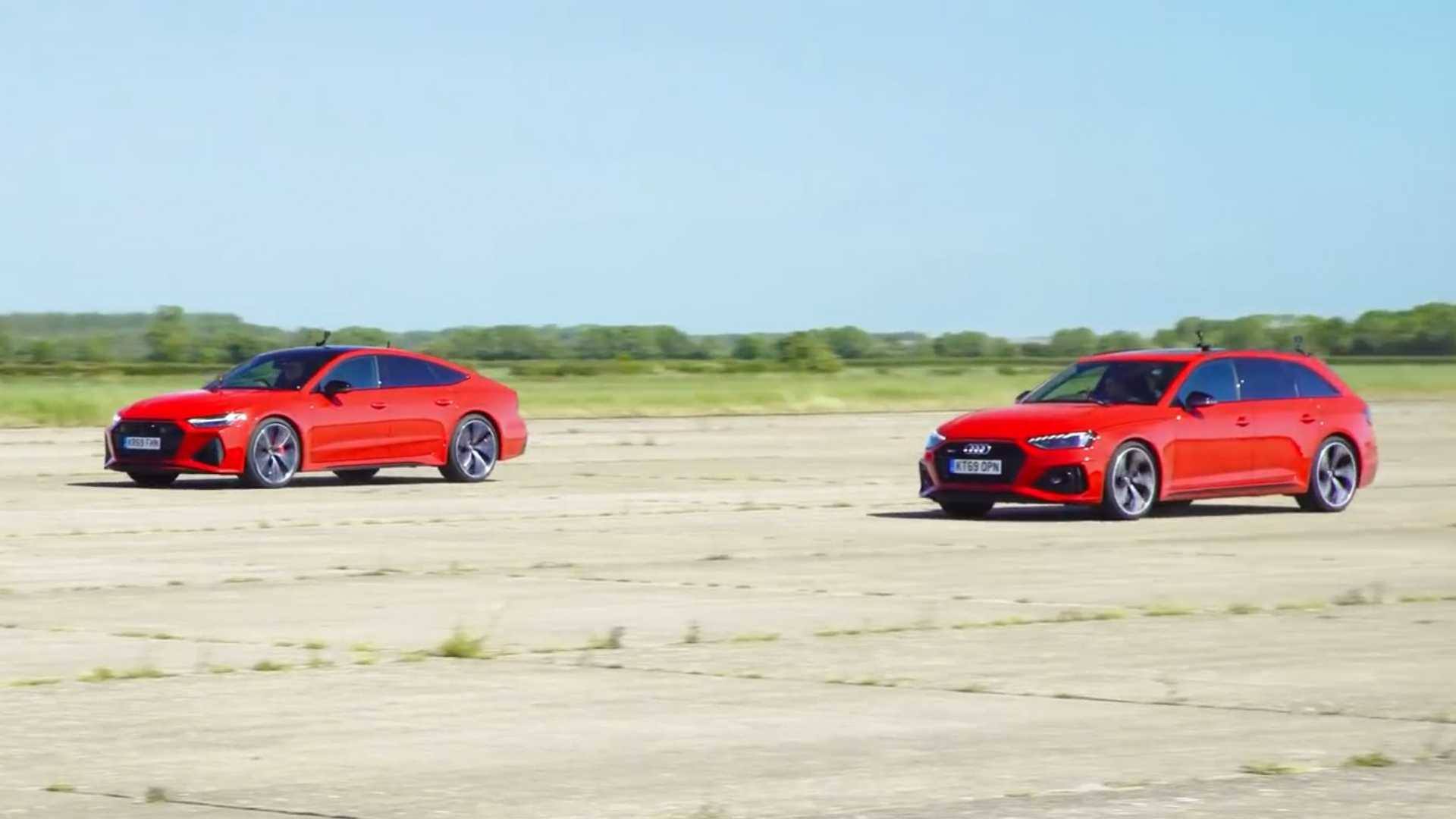 Audi RS4 Avant Drag Races RS7 Sportback In Sibling Rivalry - Motor1
