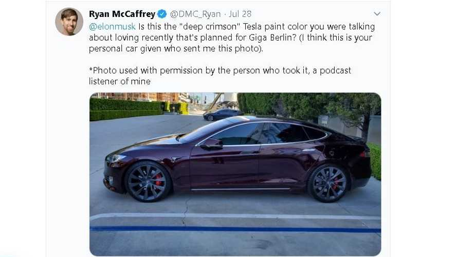 Is this Elon Musk's personal Tesla Model S in Deep Crimson paint?