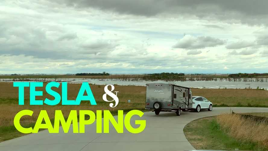 First Camping Trip With The Tesla Model X Towing A Camper