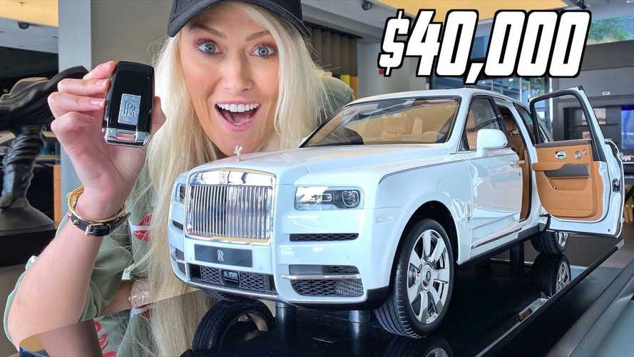 Supercar Blondie Inspects Rolls-Royce Cullinan Toy Car That Costs VW Golf R Money