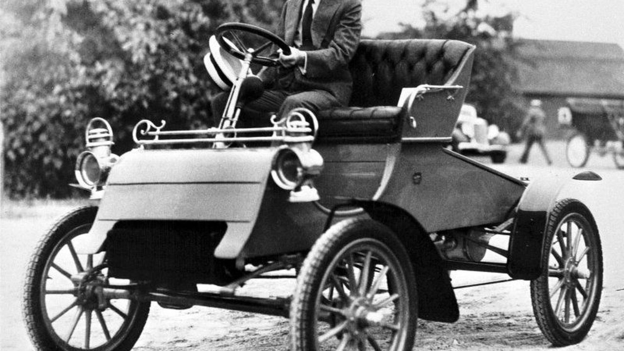 Henry Ford driving 1903 Ford Model A