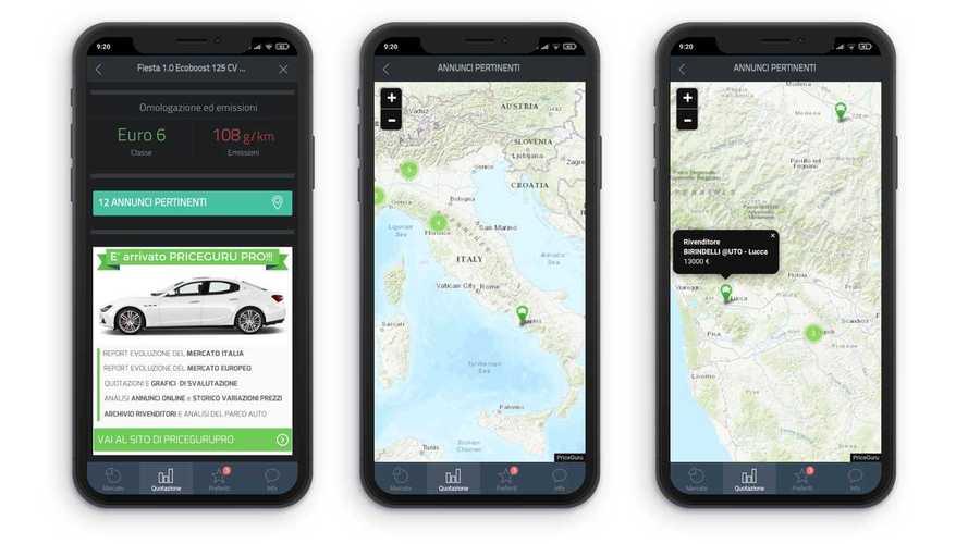 Come ottenere quotazioni di auto usate con l'app PriceGuru