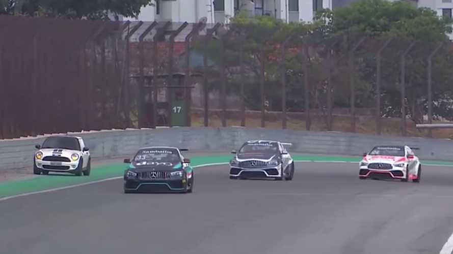 Mini driver accidently enters Interlagos circuit during Mercedes race