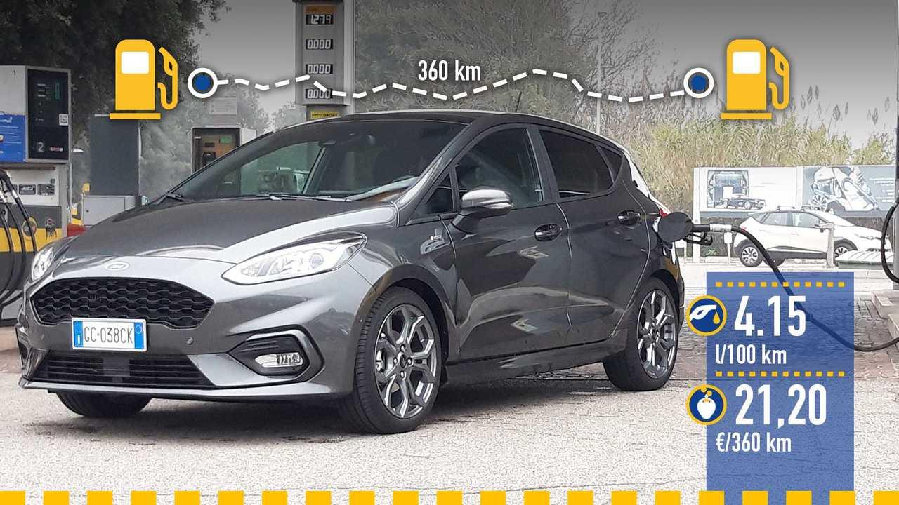 Ford Fiesta mild hybrid, la prova consumi