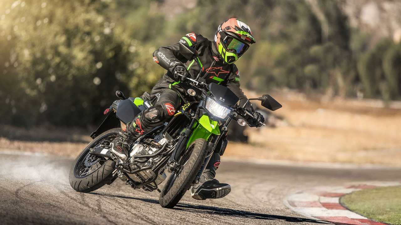 2021 Kawasaki KLX300SM, Action, Track, Skid
