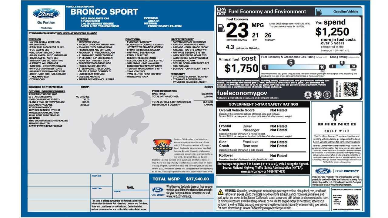 2021 Ford Bronco Sport EPA Fuel Economy Numbers Quietly ...