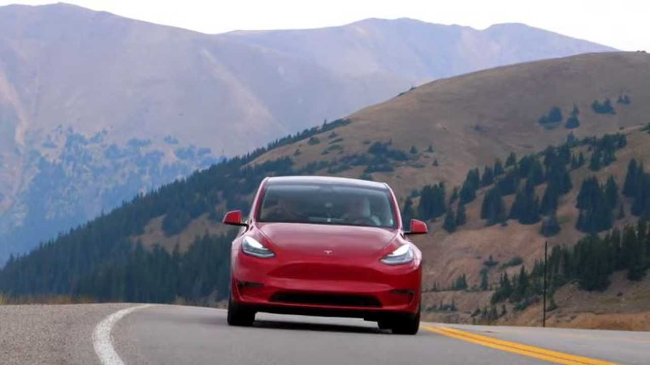 tesla model y red mountain