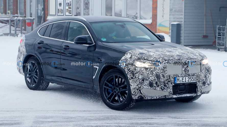 2022 BMW X4 M Prototype Spied During Winter Test Hiding Facelift