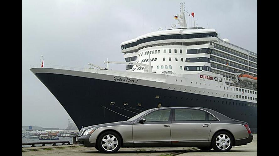 Zwei Große in Hamburg: Maybach begrüßt Queen Mary 2