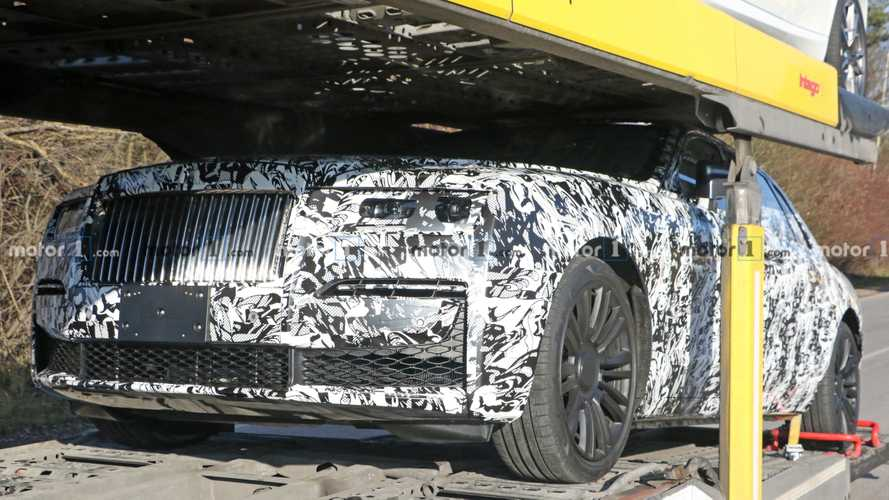 New Rolls-Royce Ghost Drops Heavy Camo, Spied Strapped To A Rig