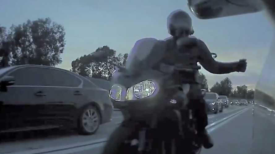 Watch Road-Raging Motorcyclist Bust Mirror Off A Tesla Model 3
