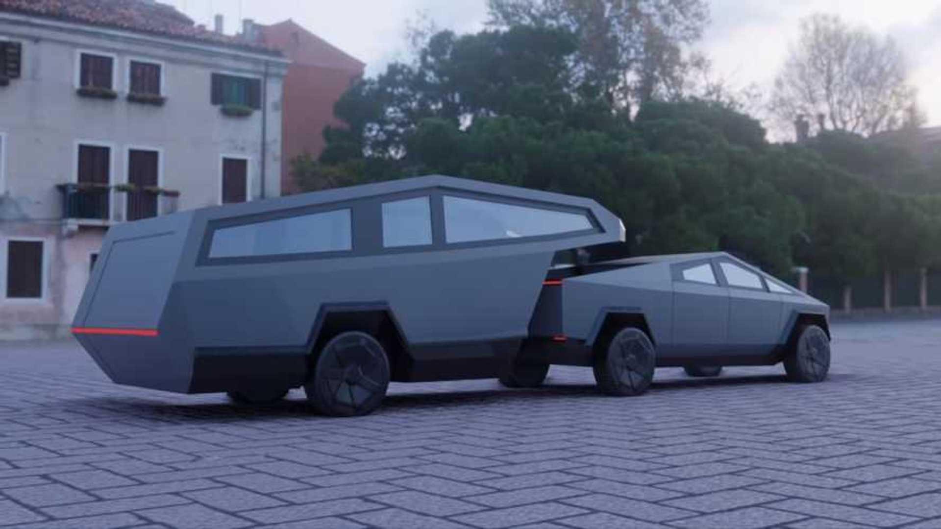 Tesla Cybertruck Fifth-Wheel RV Trailer Rendering Is Electrifying
