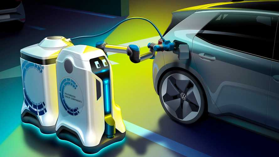 Watch how Volkswagen's mobile charging robot recharges EVs