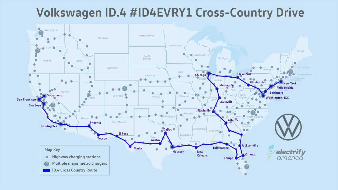 A Volkswagen ID.4 Completes A Cross-Country Trip Using EA Chargers