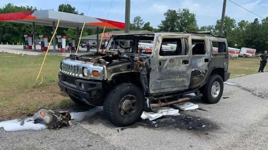 Hummer H2 Gasoline Fire