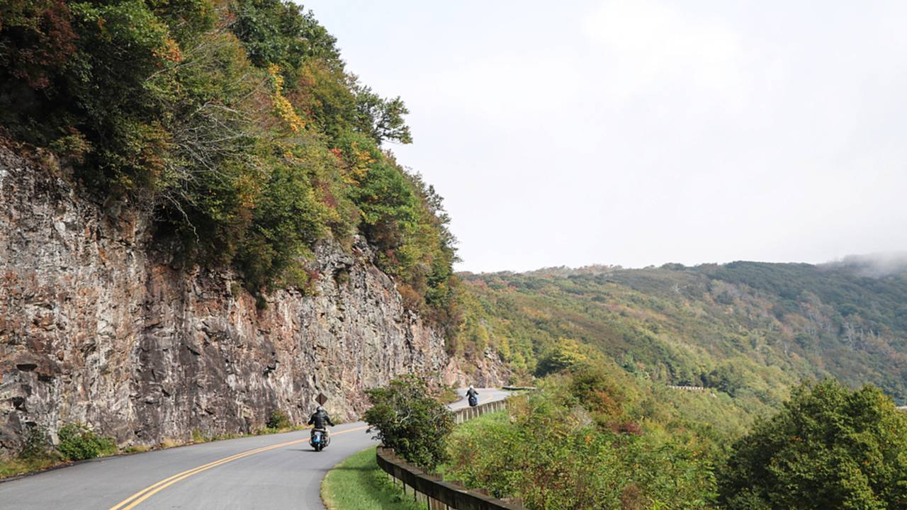 <strong>Mile after mile of sweeping turns & scenic vistas makes a day riding the Blue Ridge Parkway time well spent.</strong>
