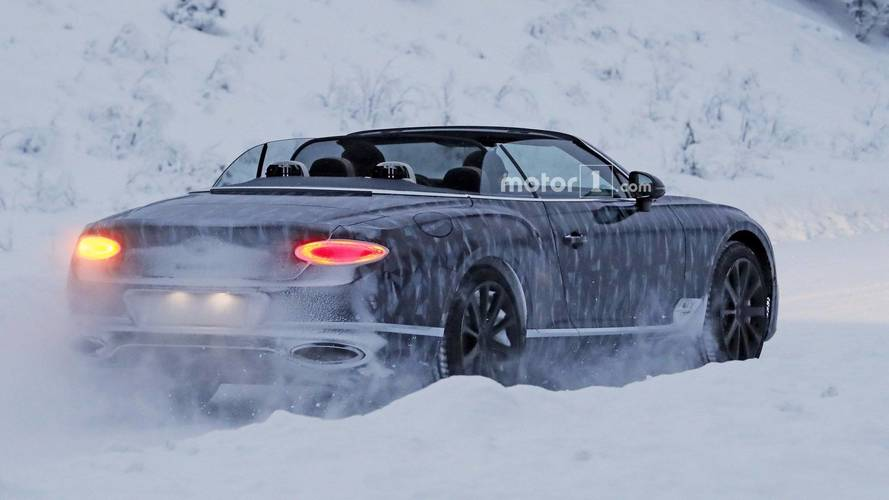 New Bentley Continental GTC gets its roof down in freezing snow