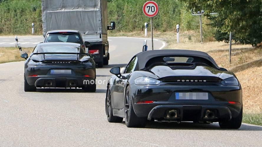 Porsche 718 Cayman GT4 and 718 Boxster Spyder spy photos