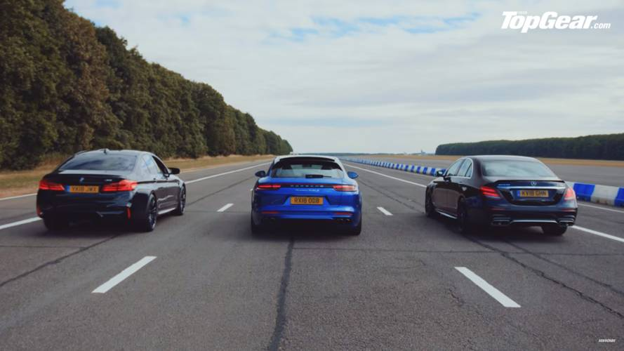 M5, E63 S, Panamera Turbo S E-Hybrid fight in Top Gear drag race