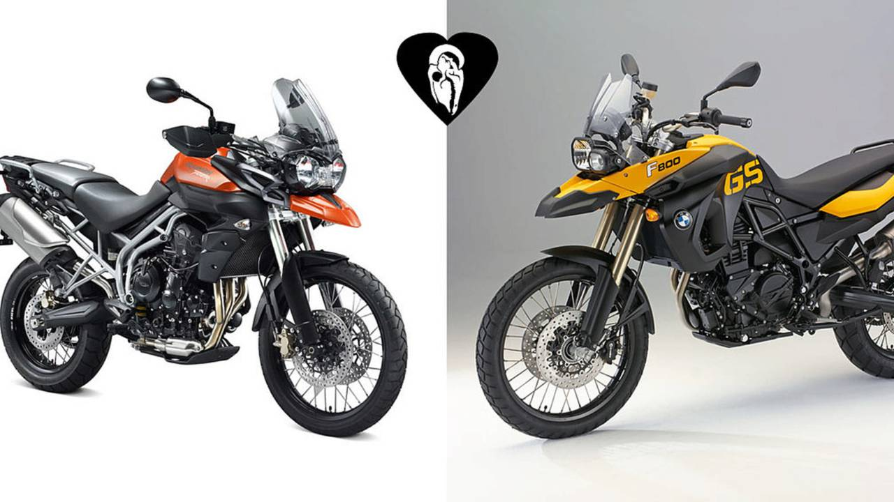 Triumph Tiger 800 and BMW F800GS, separated at birth?