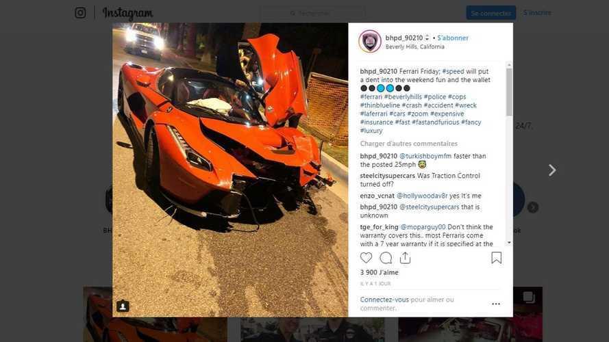 Triste fin pour cette Ferrari LaFerrari à Beverly Hills