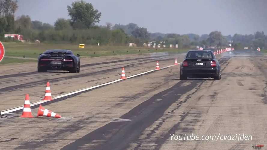 Audi S4 Versus Bugatti Chiron Drag Race