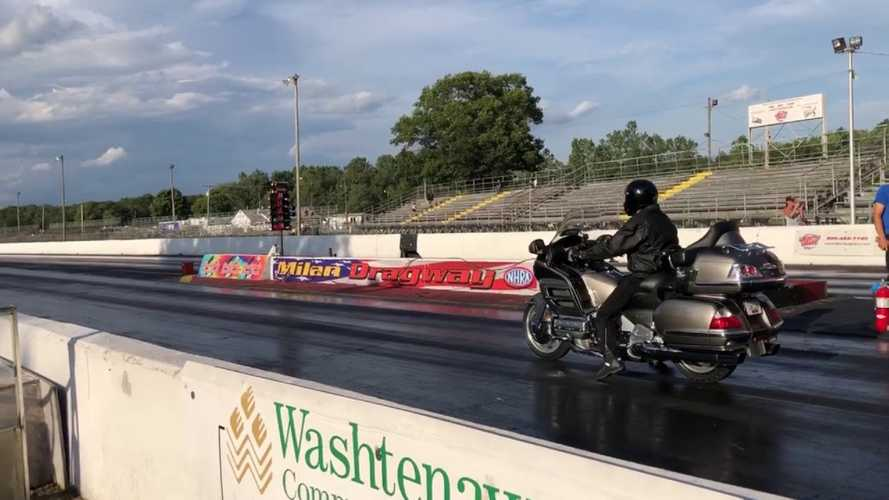 Watch A Gold Wing Tear Up The Quarter Mile
