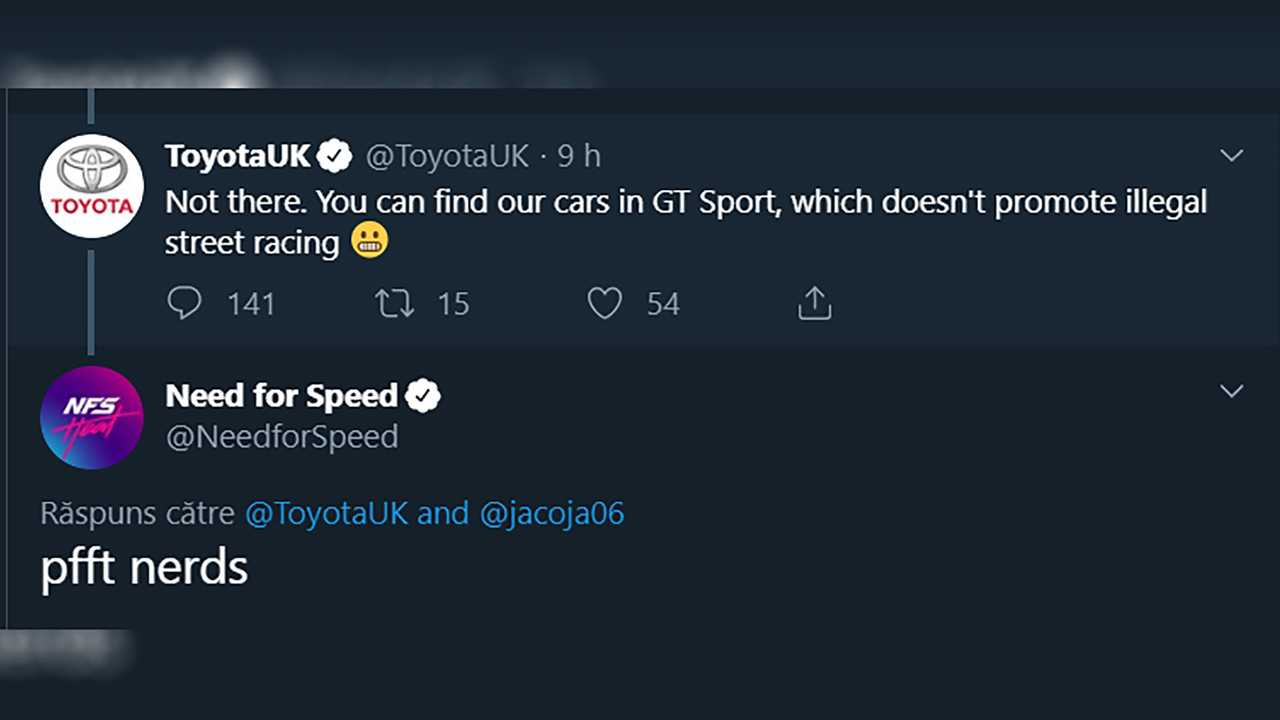Toyota UK NFS Heat Tweet