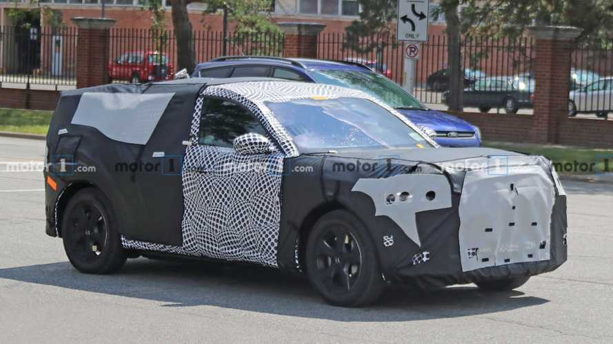 Ford Mustang-inspired electric SUV spied wearing production body