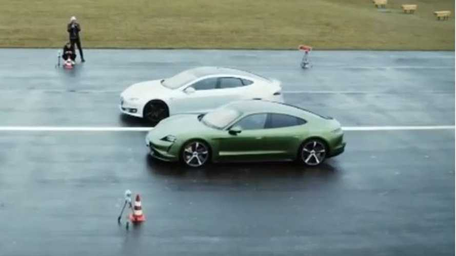 Tesla Model S P100D vs Porsche Taycan Turbo S at the strip