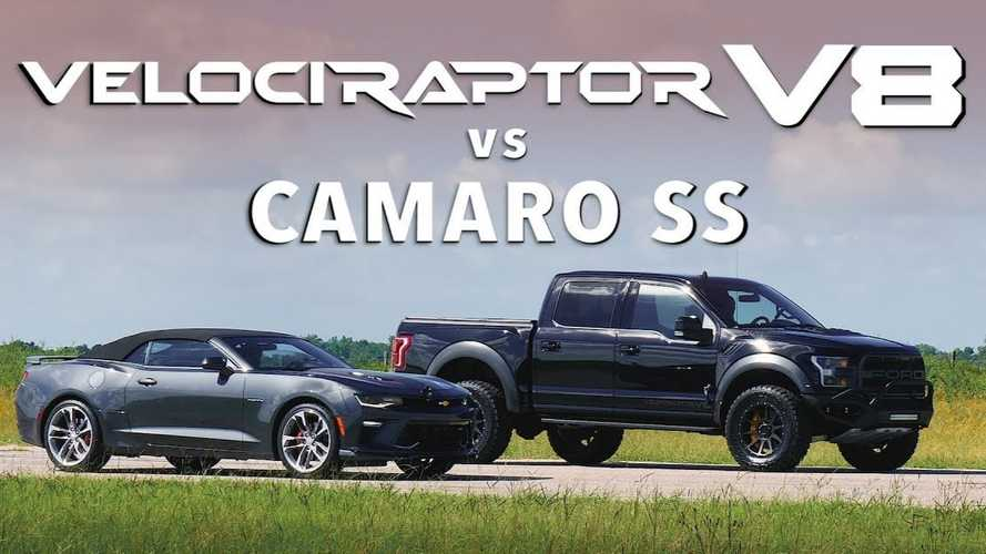 Hennessey VelociRaptor V8 Fights Camaro SS In Unexpected Drag Race