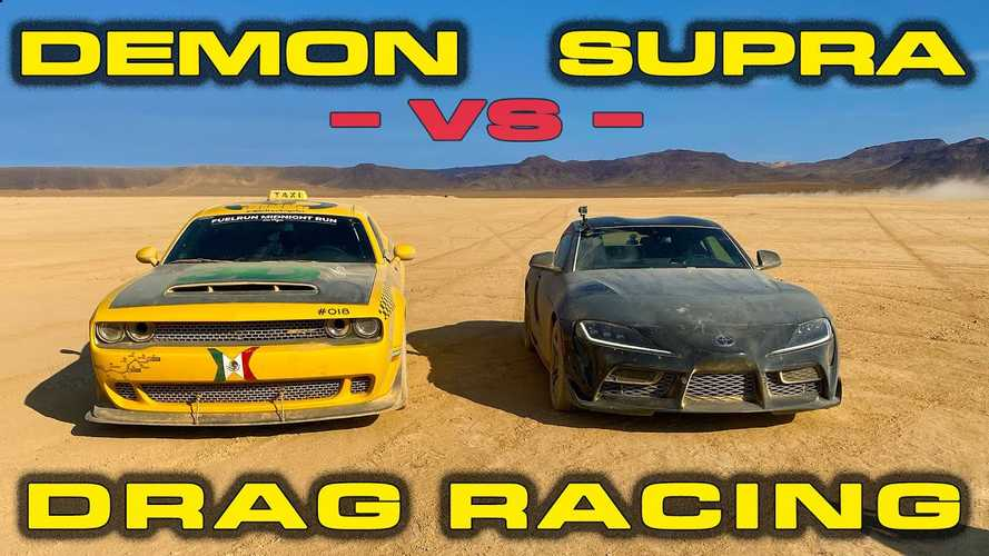 Toyota Supra Plays Dirty With Dodge Demon In Desert Drag Race