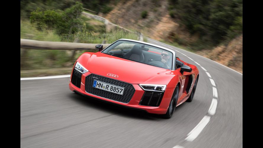 Audi R8 V10 Spyder, l'urlo del motore aspirato [VIDEO]