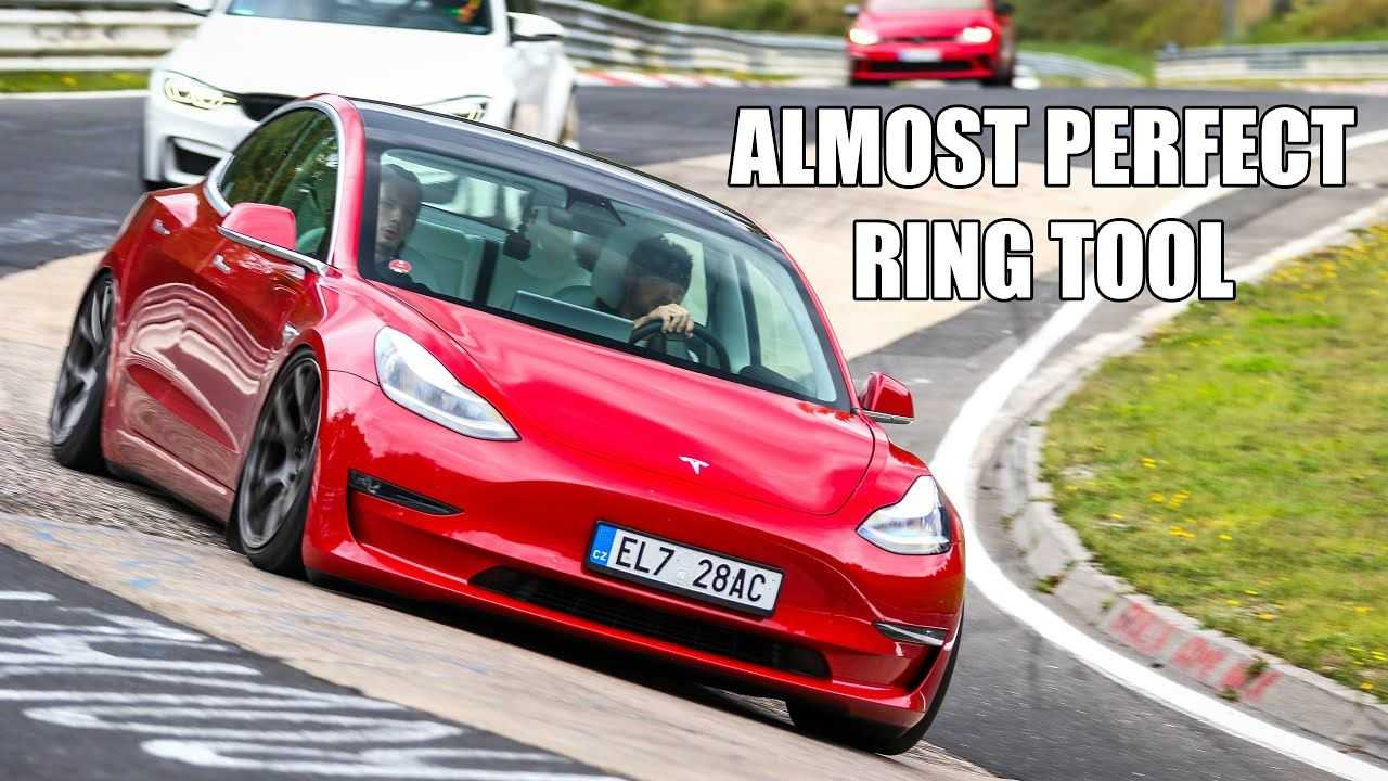 red tesla model 3 performance nurburgring