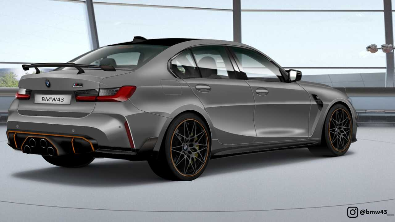 BMW M3 render with stacked quad exhaust