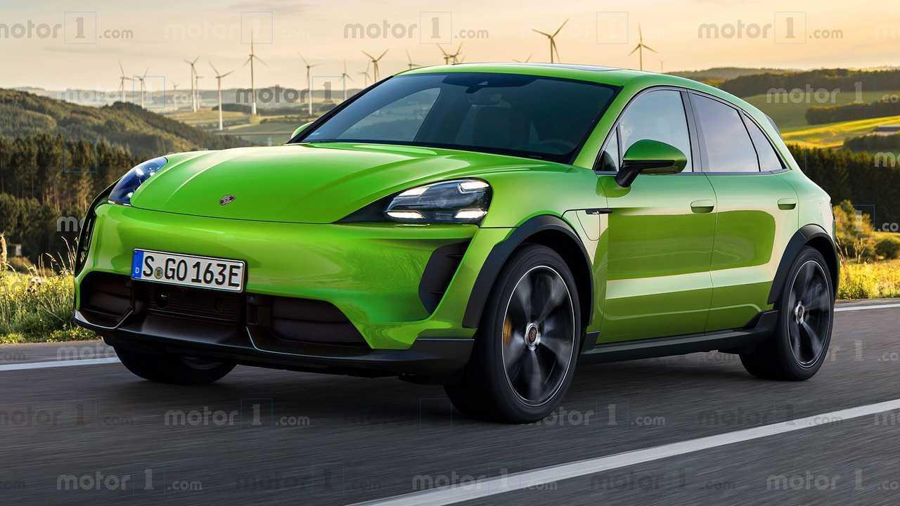 Porsche Macan elettrica, il rendering di Motor1.com