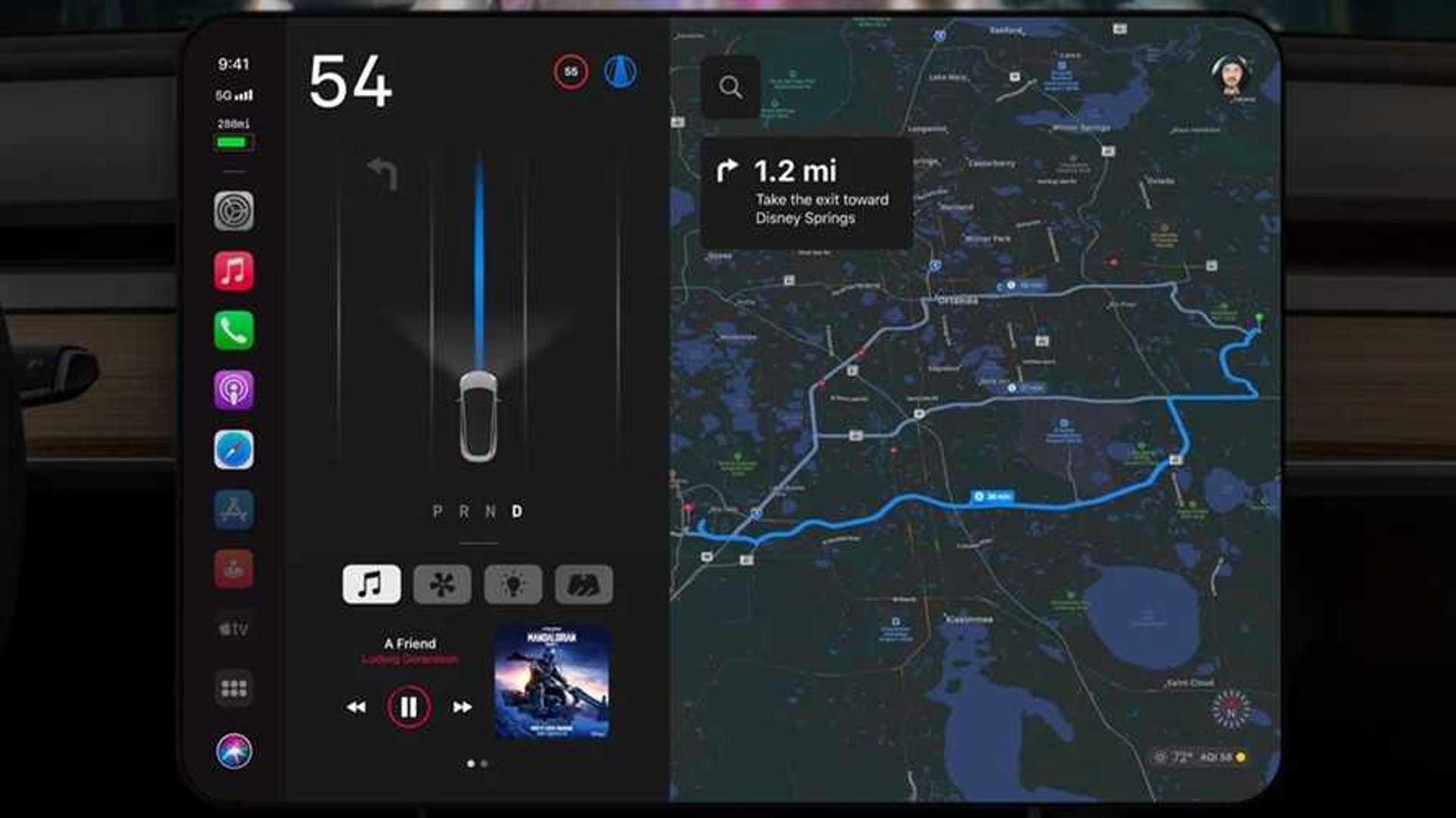 Если бы Apple разработала информационно-развлекательную систему Tesla, это могло бы выглядеть так