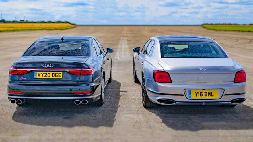 Audi S8 battles Bentley Flying Spur in a posh drag race