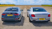 audi s8 flying spur drag race