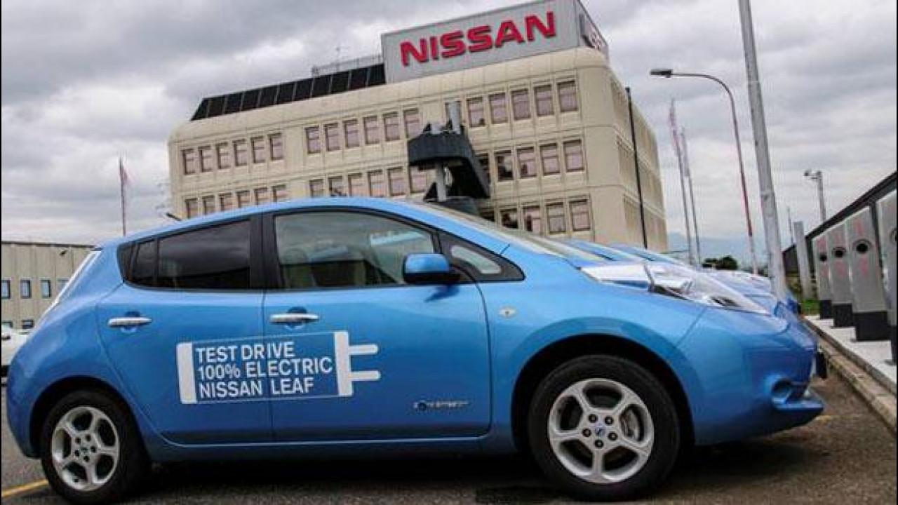 [Copertina] - La Nissan Leaf si ricarica gratis presso la sede del marchio a Capena (Roma)