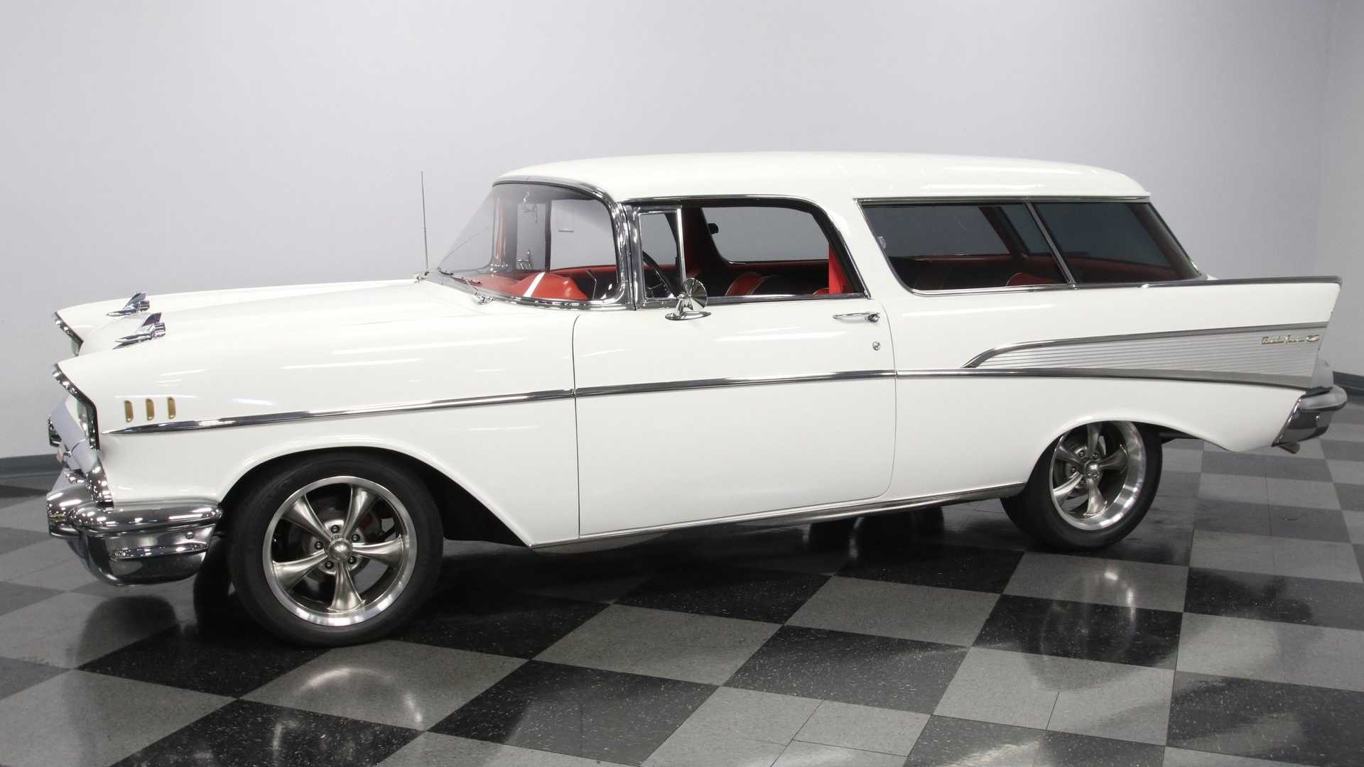 "[""White On Red 1957 Chevrolet Bel Air Nomad Is Truly Spectacular""]"