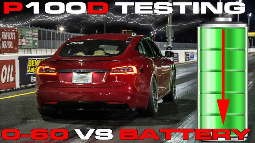 Tesla Model S P100DL Acceleration Tests At Various Battery Charge Levels - Video