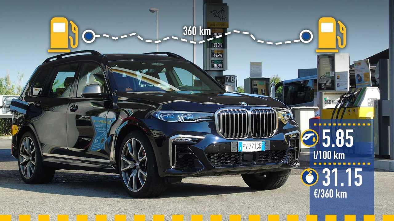 BMW X7 M50d, la prova consumi
